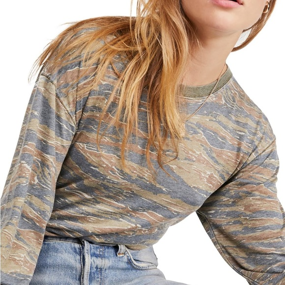 Free People Tops - Free People Arielle Printed Knit T-Shirt